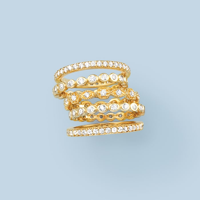 2.50 ct. t.w. CZ Jewelry Set: Five Eternity Bands in 18kt Gold Over Sterling
