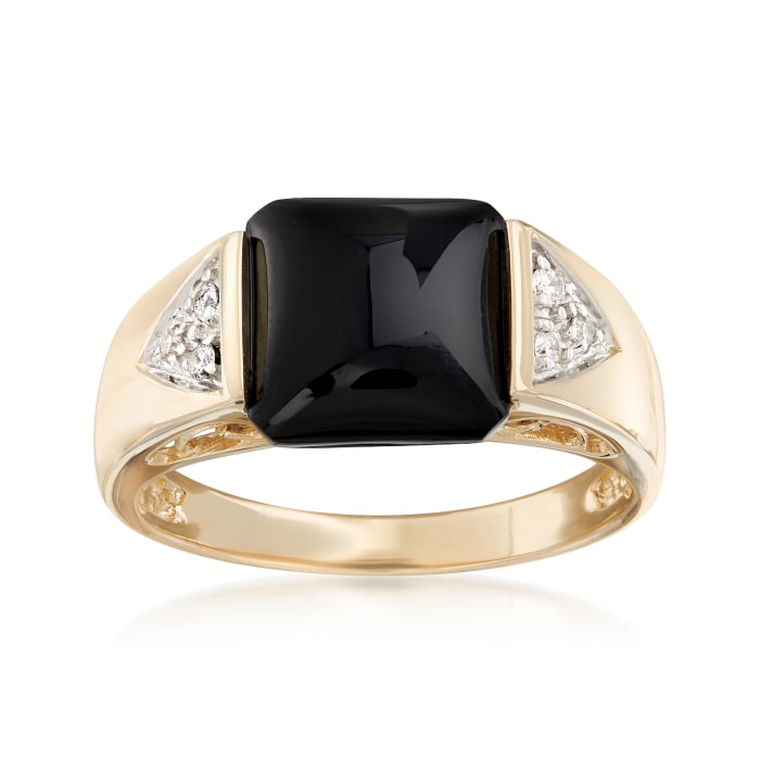Black Onyx Cabochon Ring with Diamond Accents in 14kt Yellow Gold