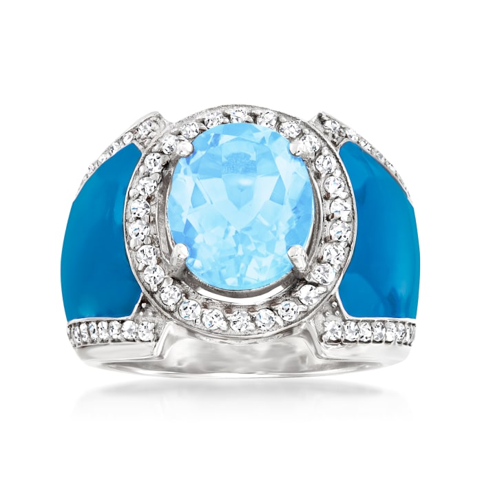 3.90 ct. t.w. Swiss Blue and White Topaz Ring with Blue Enamel in Sterling Silver