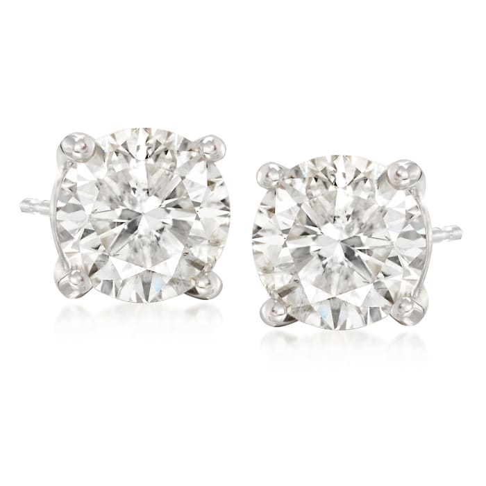 4.00 ct. t.w. CZ Stud Earrings in 14kt White Gold
