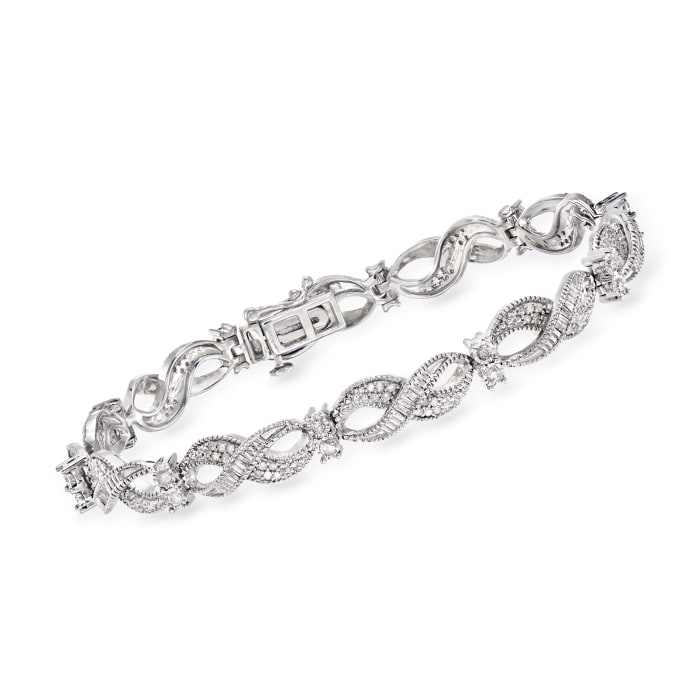 1.00 ct. t.w. Diamond Infinity-Link Bracelet in Sterling Silver