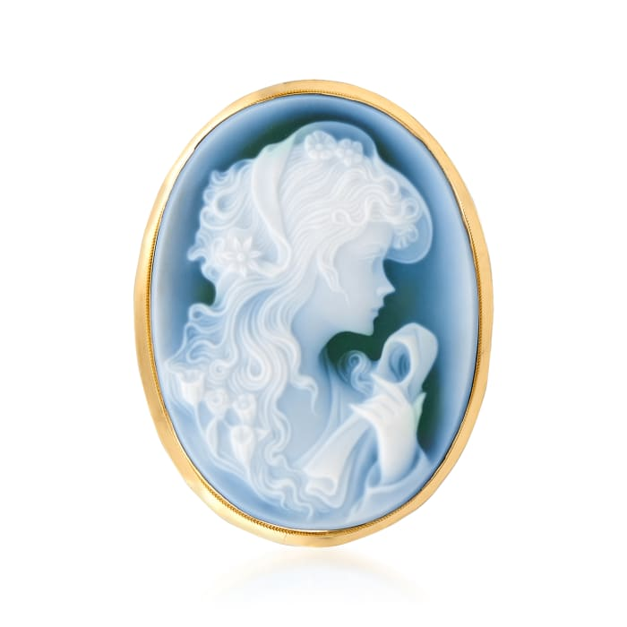 C. 1980 Vintage Blue Agate Cameo Pin Pendant in 18kt Yellow Gold