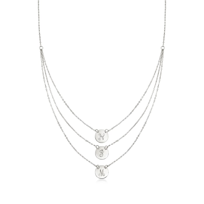 Italian Sterling Silver Single-Initial Disc Layered Necklace