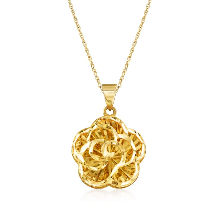 14kt Yellow Gold Openwork Flower Pendant Necklace
