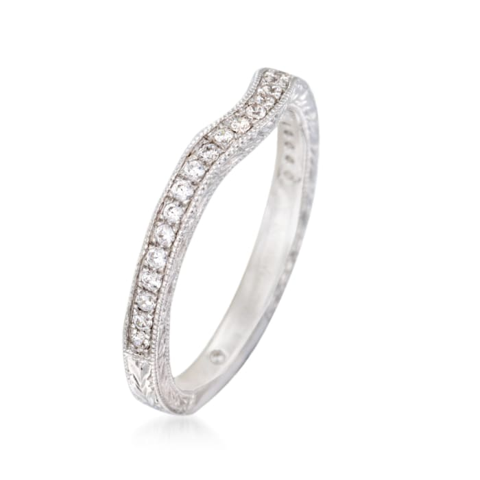 Gabriel Designs .20 ct. t.w. Diamond Curved Wedding Ring in 14kt White Gold