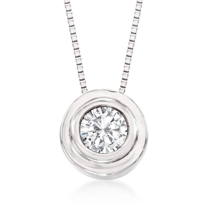 .25 Carat Bezel-Set Diamond Solitaire Necklace in 14kt White Gold