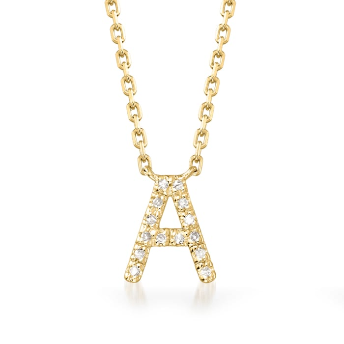 Diamond-Accented Initial Necklace in 18kt Gold Over Sterling 16-inch  (A)