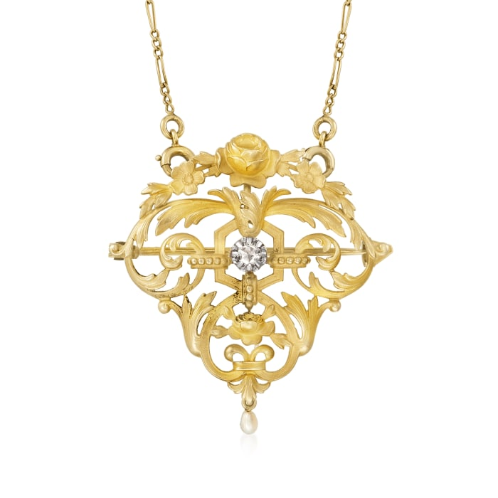 C. 1950 Vintage 18kt Yellow Gold Filigree Pin/Pendant Necklace with Diamond and Pearl Accents
