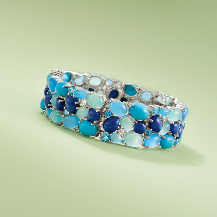 Blue and White Multi-Stone Cluster Bracelet in Sterling Silver