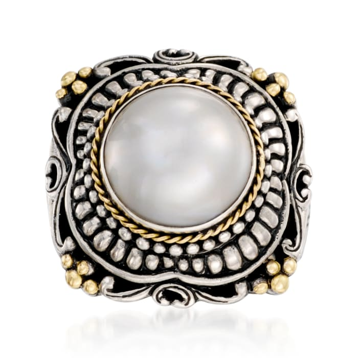 13mm Cultured Mabe Pearl Ring in Sterling Silver and 14kt Yellow Gold