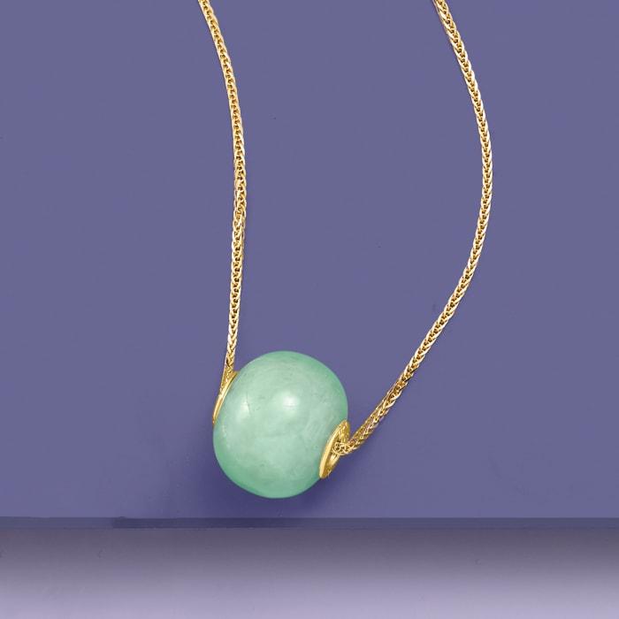 Jade Bead Pendant in 14kt Yellow Gold
