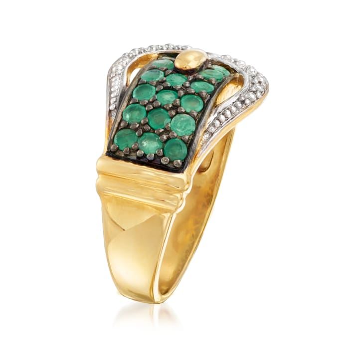 1.00 ct. t.w. Emerald Buckle Ring in 18kt Gold Over Sterling