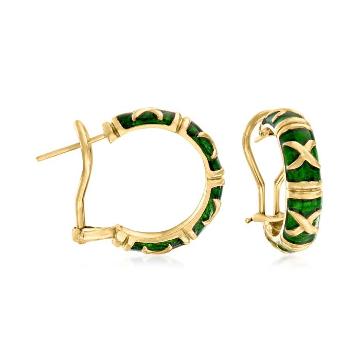 C. 1990 Vintage Green Enamel and 18kt Yellow Gold Hoop Earrings