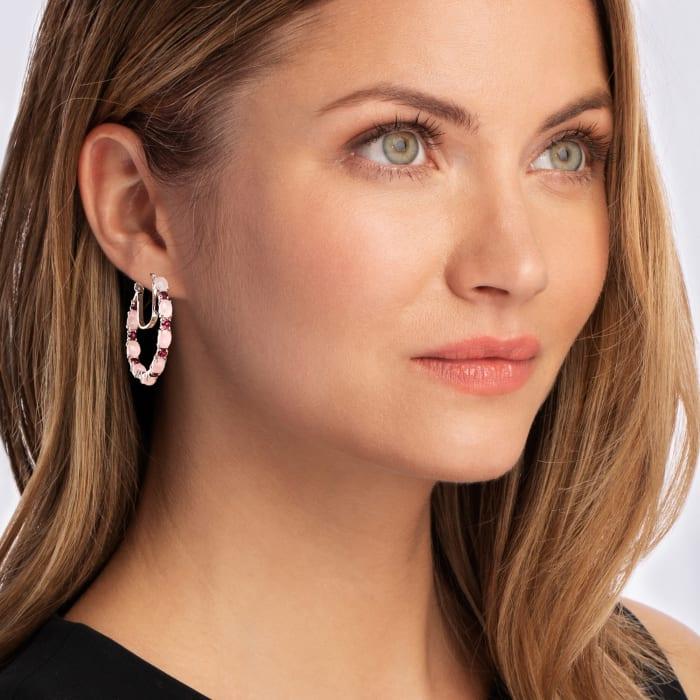 Pink Chalcedony and 2.70 ct. t.w. Rhodolite Garnet Hoop Earrings in Sterling Silver