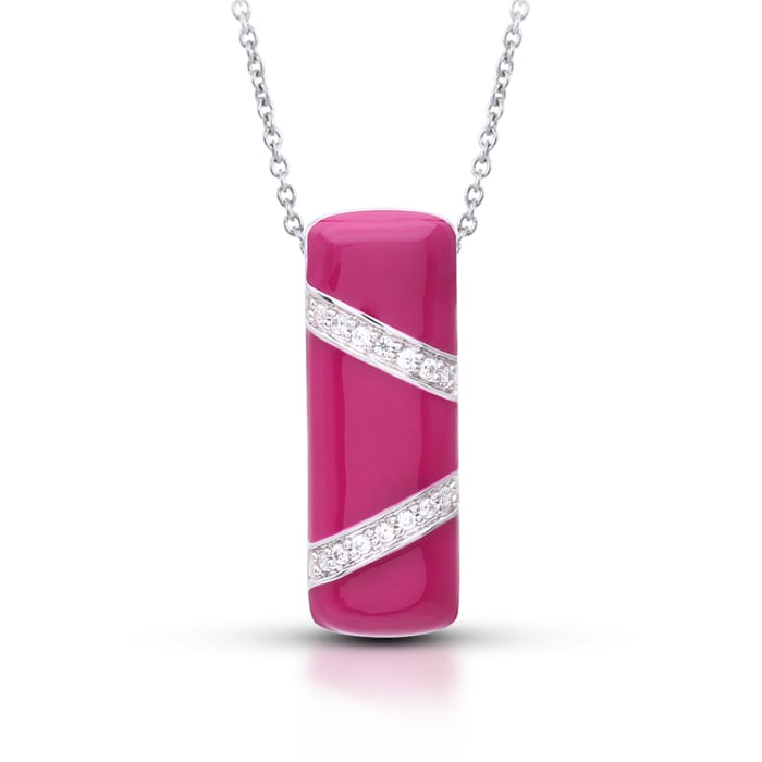 """Belle Etoile """"Glissando"""" Red Enamel and .40 ct. t.w. CZ Pendant in Sterling Silver"""