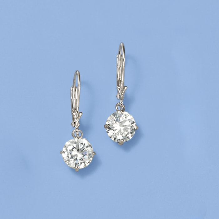 4.00 ct. t.w. Round CZ Drop Earrings in Sterling Silver