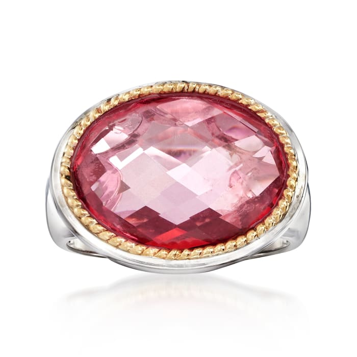 7.00 Carat Pink Quartz Ring in Sterling Silver and 14kt Yellow Gold