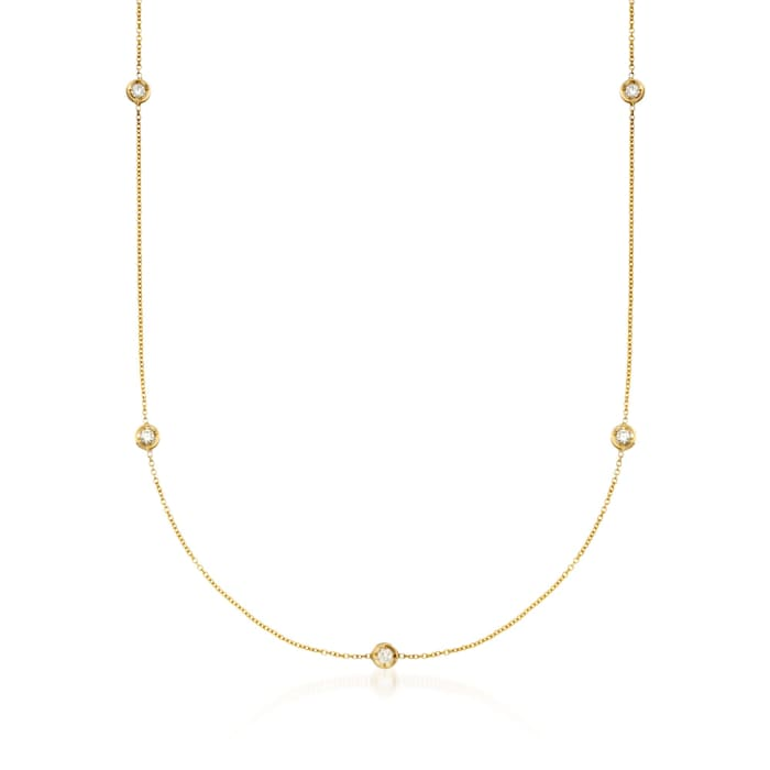 Roberto Coin .23 ct. t.w. Diamond Station Necklace in 18kt Yellow Gold