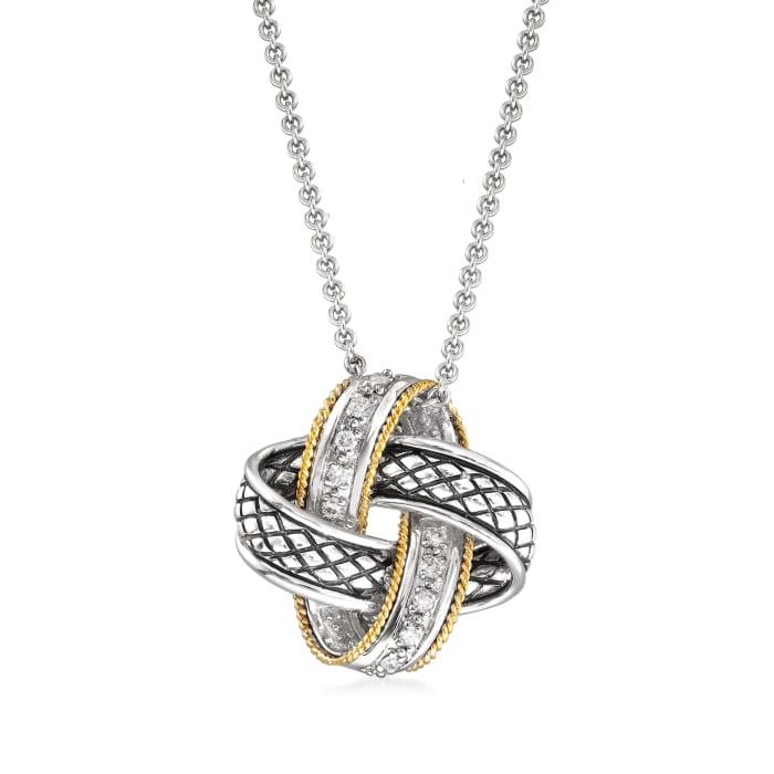 "Andrea Candela ""Nudo De Amor"" .14 ct. t.w. Diamond Love Knot Pendant Necklace in Sterling Silver and 18kt Gold"