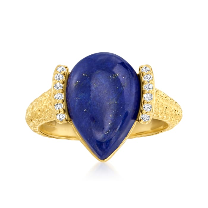 Lapis and .10 ct. t.w. Diamond Ring in 18kt Gold Over Sterling