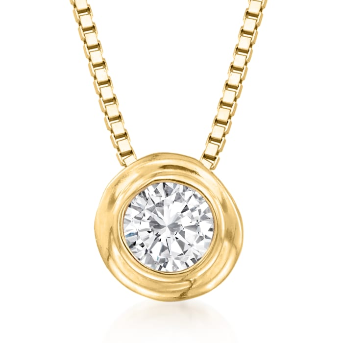 .12 Carat Double Bezel-Set Diamond Solitaire Necklace in 14kt Yellow Gold