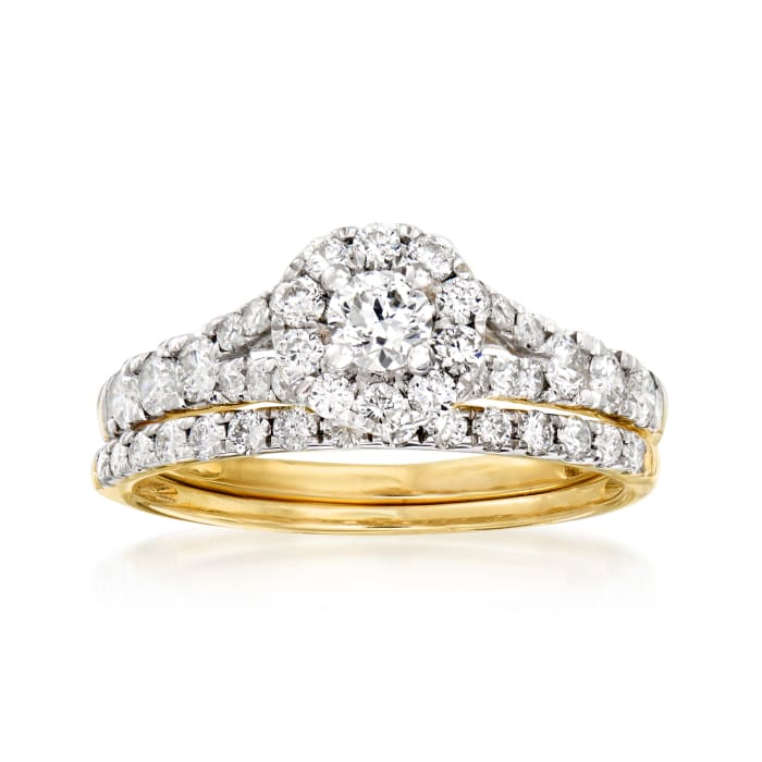 .98 ct. t.w. Diamond Bridal Set: Engagement and Wedding Rings in 14kt Yellow Gold