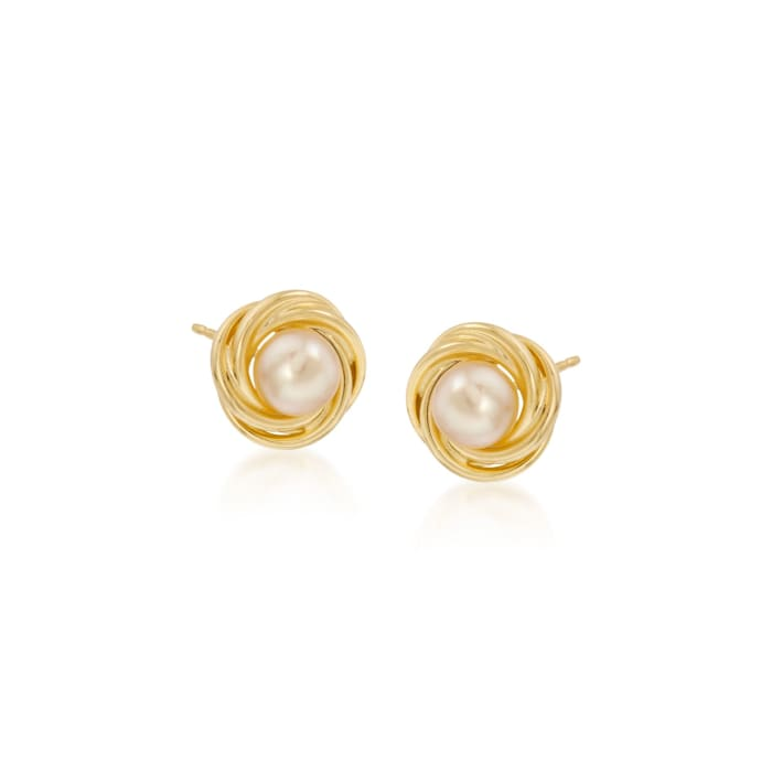 5-5.5mm Cultured Pearl Knot Stud Earrings in 14kt Yellow Gold
