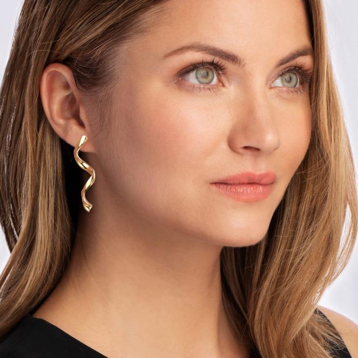 Italian 14kt Yellow Gold Swirl Drop Earrings