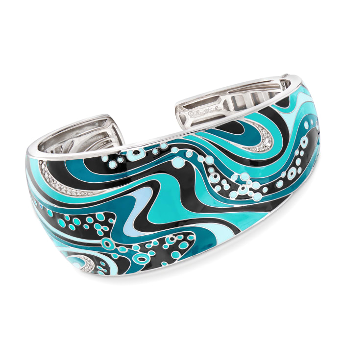 "Belle Etoile ""Calypso"" Turquoise and Multicolored Enamel Cuff Bracelet with .10 ct. t.w. CZ in Sterling Silver"
