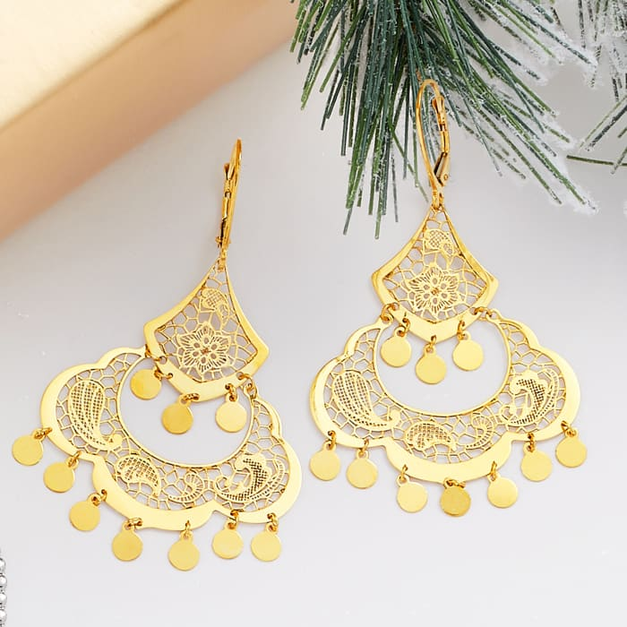 Italian 14kt Yellow Gold Filigree Chandelier Earrings