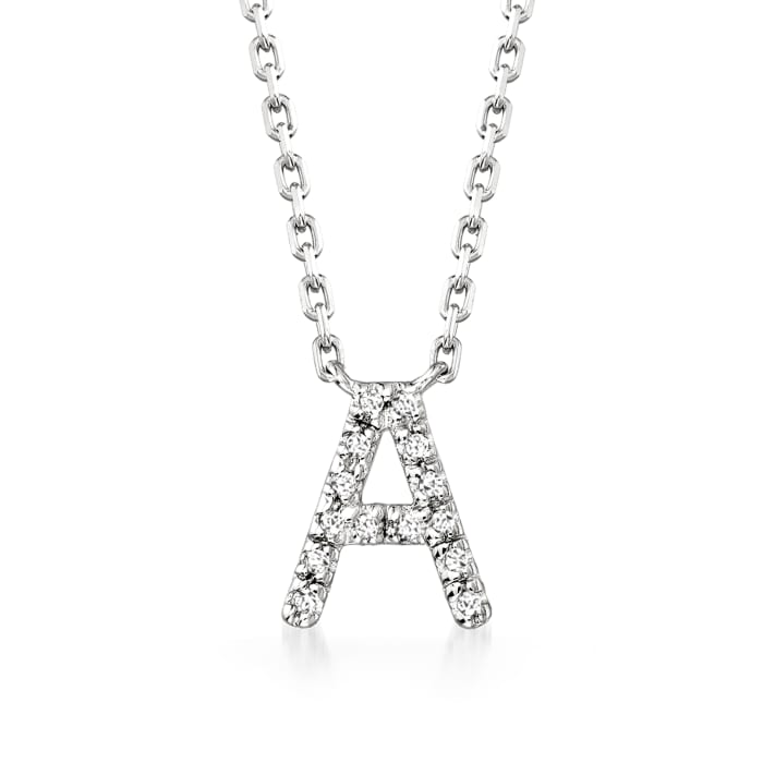 Diamond-Accented Initial Necklace in Sterling Silver 16-inch  (A)