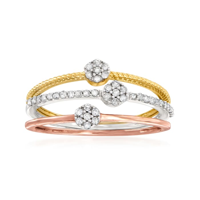 .20 ct. t.w. Diamond Jewelry Set: Three Cluster Rings in 14kt Tri-Colored Gold