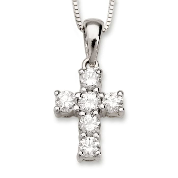 .50 ct. t.w. Diamond Cross Necklace in 14kt White Gold
