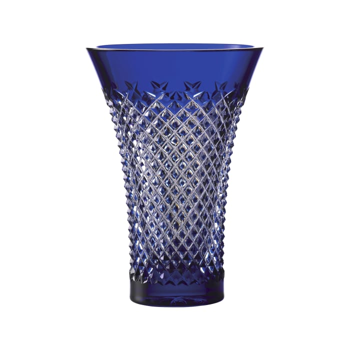 "Waterford Crystal ""Treasures of the Sea"" Alana Blue Flared Vase"