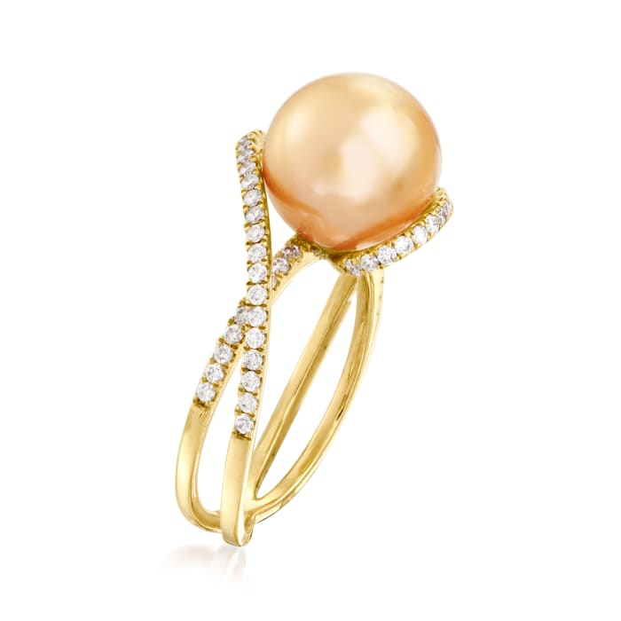 10-11mm Cultured Golden South Sea Pearl and .42 ct. t.w. Diamond Ring in 18kt Yellow Gold