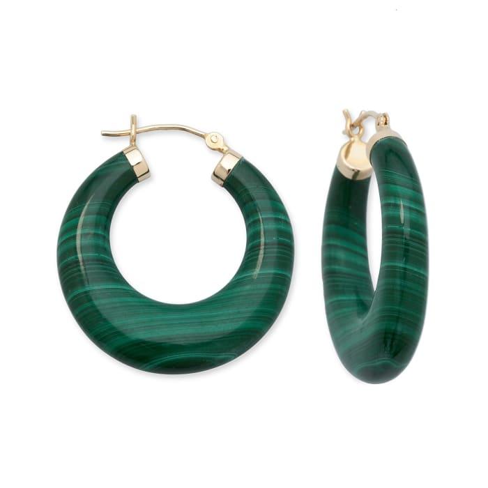Malachite Hoop Earrings in 14kt Yellow Gold