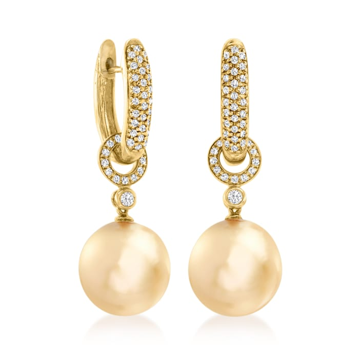 12-13mm Golden Cultured South Sea Pearl and .53 ct. t.w. Diamond Hoop Drop Earrings in 18kt Yellow Gold