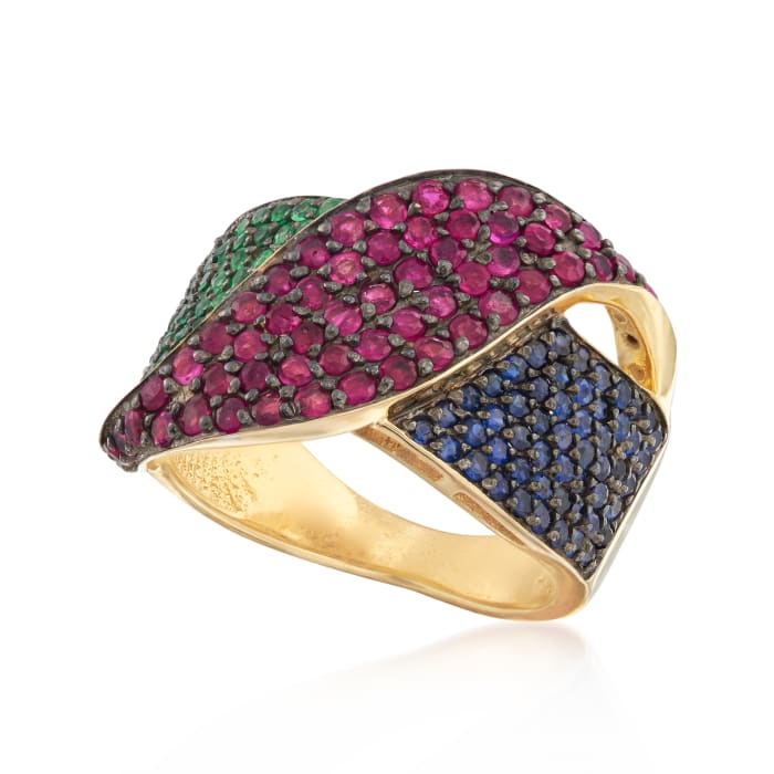 2.20 ct. t.w. Multi-Gem Ring in 18kt Gold Over Sterling