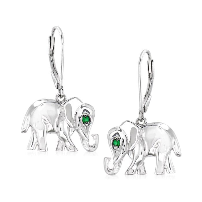 Tsavorite-Accented Sterling Silver Elephant Drop Earrings