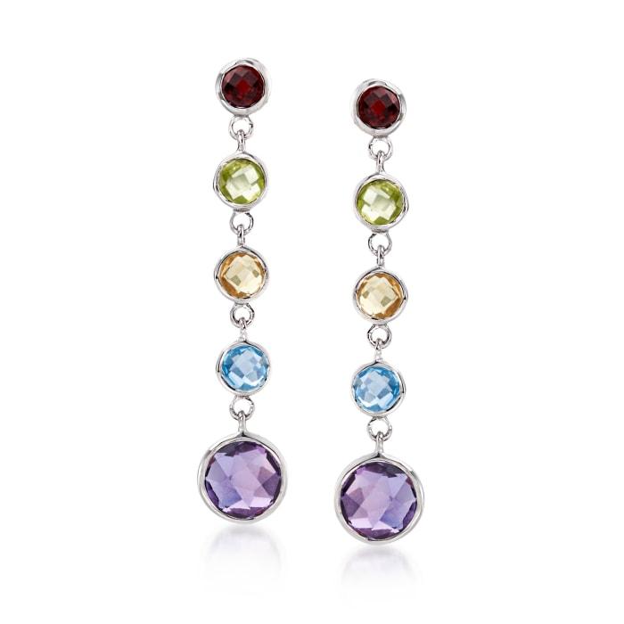 4.30 ct. t.w. Bezel-Set Multi-Stone Drop Earrings in Sterling Silver