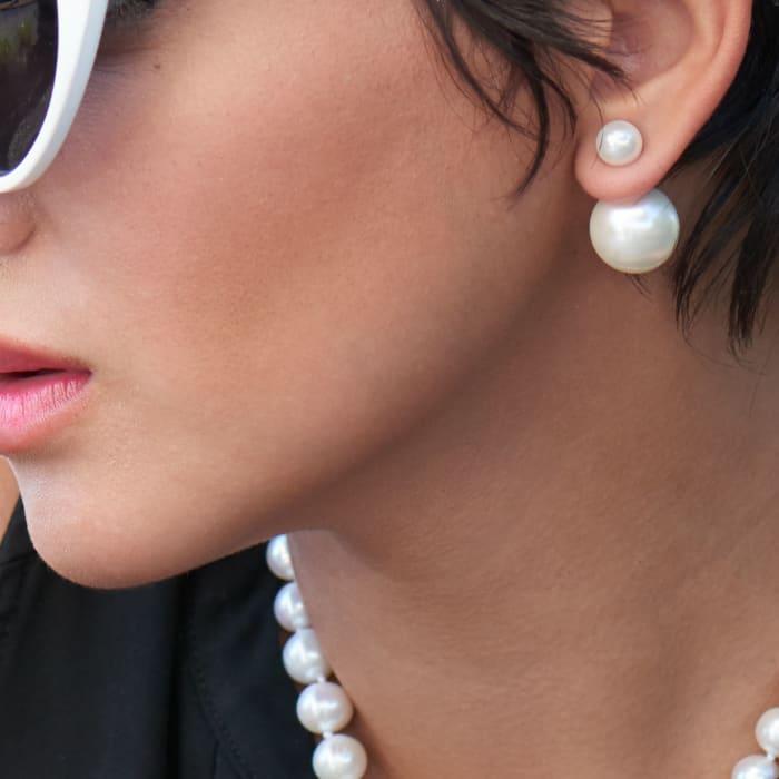 8-16mm Shell Pearl Front-Back Earrings in Sterling Silver