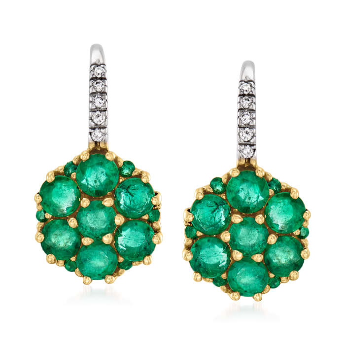 3.40 ct. t.w. Emerald Flower Earrings with Diamond Accents in 14kt Two-Tone Gold