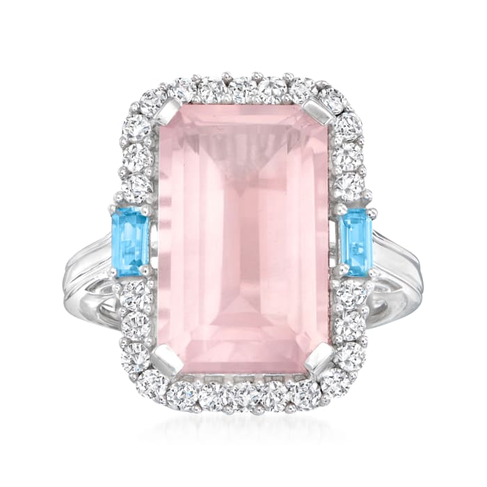 6.75 Carat Rose Quartz, .70 ct. t.w. White Zircon and .10 ct. t.w. Blue Topaz Ring in Sterling Silver