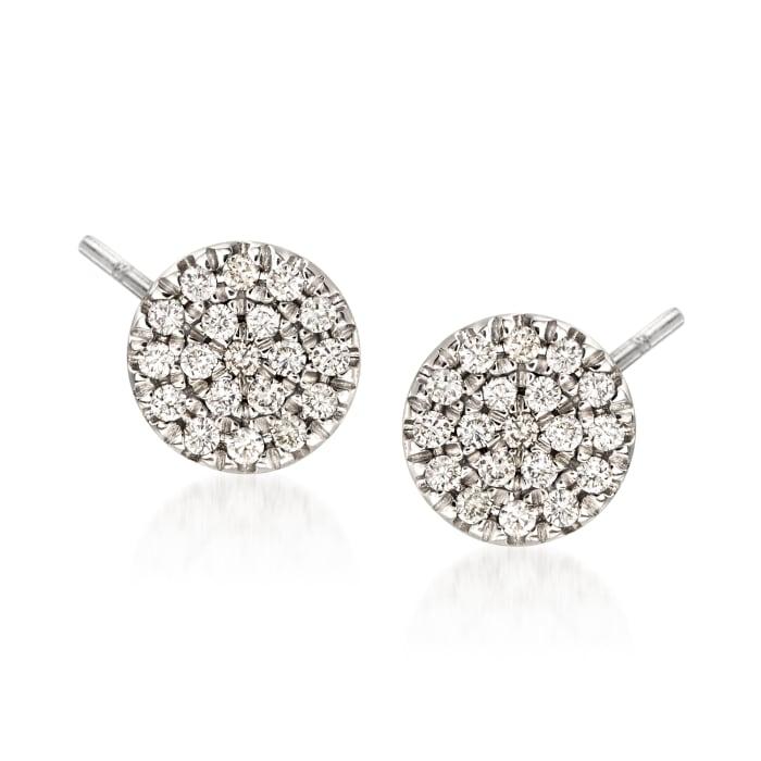Gabriel Designs .11 ct. t.w. Diamond Round Stud Earrings in 14kt White Gold