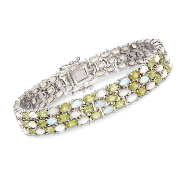 12.00 ct. t.w. Peridot and Opal Bracelet in Sterling Silver