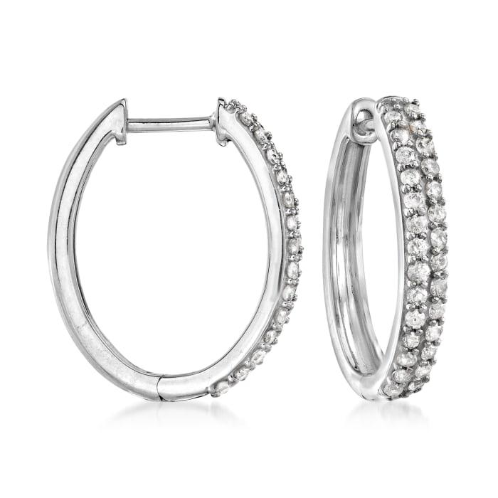 .50 ct. t.w. Pave Diamond Oval Hoop Earrings in Sterling Silver