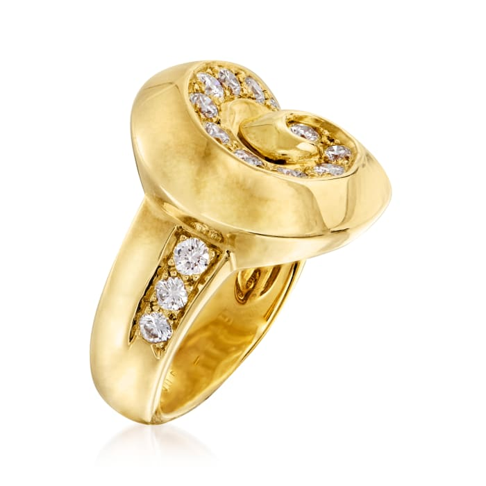 C. 1980 Vintage Van Cleef & Arpels .70 ct. t.w. Diamond Swirl Ring in 18kt Yellow Gold