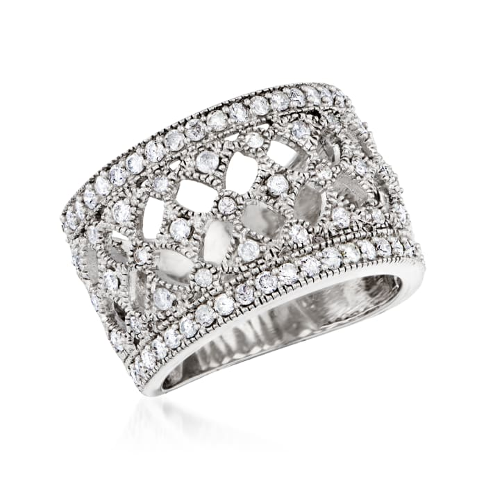 1.00 ct. t.w. Diamond Openwork Ring in Sterling Silver