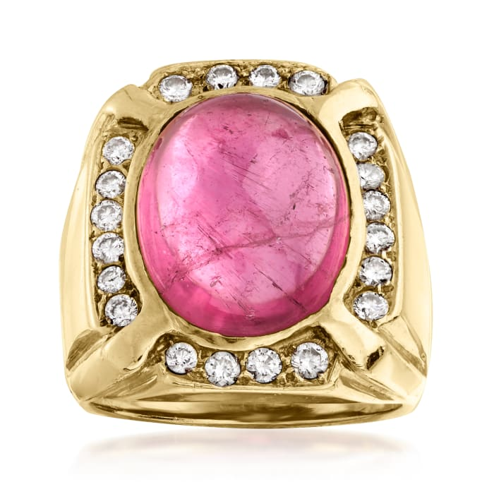 C. 1970 Vintage 14.50 Carat Pink Tourmaline and 1.06 ct. t.w. Diamond Ring in 18kt Yellow Gold