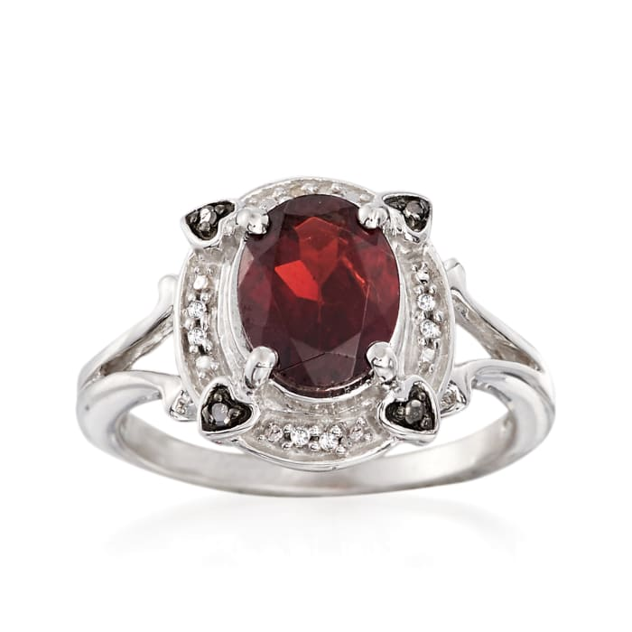 2.20 Carat Garnet Ring with Black and White Diamond Accents in Sterling Silver